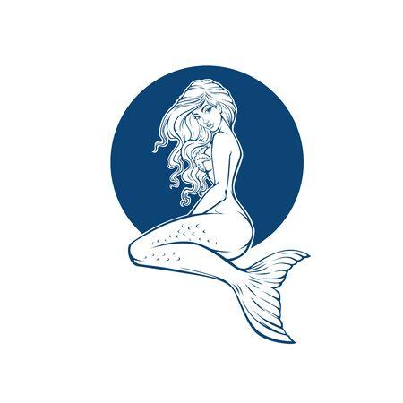 belle sirène sous-marine, image de dessin animé de fille pour livre de coloriage