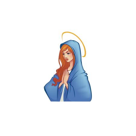 Betende Jungfrau Maria, realistische Vektorgrafik für Ihr Logo, Etikett, Aufkleber, Druck