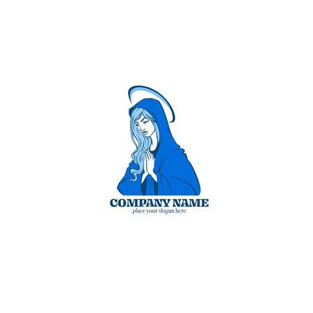 vector portrait of Virgin Mary for your logo, label, emblem Illustration
