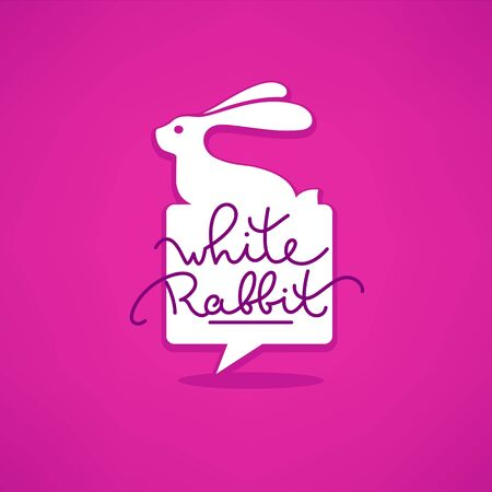 little white rabbit, speech bubble shaped logo template with calligraphy lettering composition on pink backround Illustration
