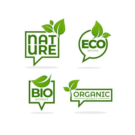 Nature, Organic, Bio, Nature c leave emblems,  frames and logo Ilustracja