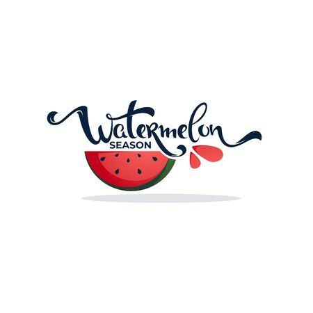 Wassermelonensaison-Kalligraphie-Schriftzugzusammensetzung für Ihr Logo, Etikett, Emblem,