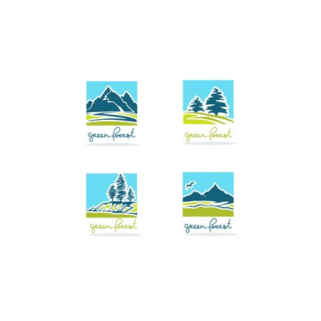 Green forest, handrawn lettering and  Rural mountain landscape for your logo, label, emblem Illustration