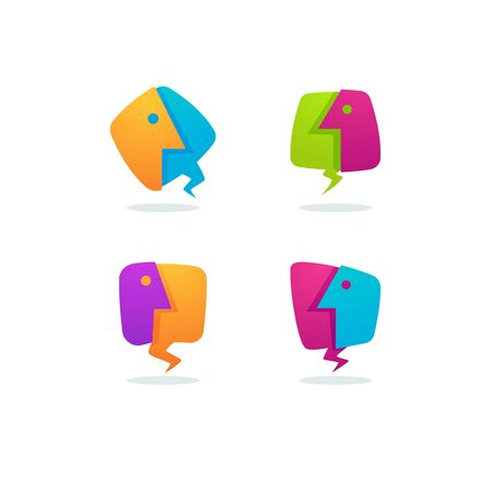 vector collection of talking, speaking, chatting and communication logo, icons, signs and symbols Ilustração