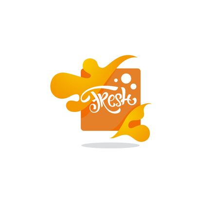 bright  sticker, emblem and icon for citrus fruit  fresh juice Çizim