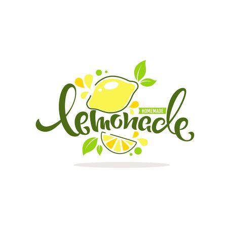 homemade lemonade icon, label, emblem for your summer drink menu Çizim