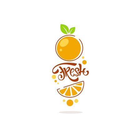 bright  line art  sticker for citrus fruit  fresh juice with orange image and lettering Çizim