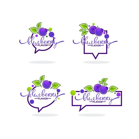 blueberry flavor, doodle icon collection with berry symbols, leaves and lettering composition 向量圖像