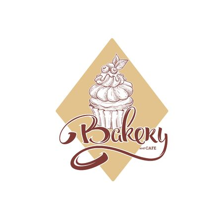 Sweet cake bakery and cafe, sketching illustration and lettering composition