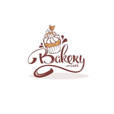 Bakery template, with image of cupcake and lettering composition