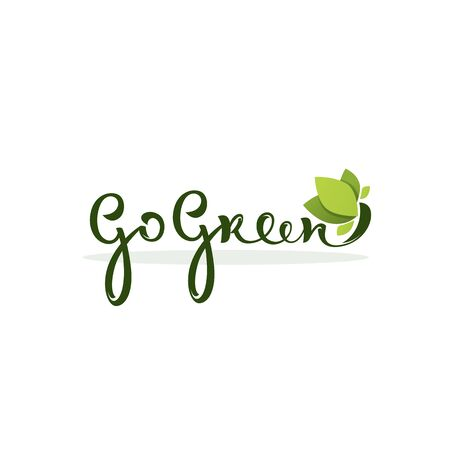 Go Green, healthy and organic lettering composition