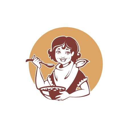 happy retro girl eating a healthy breakfast, illustration for your label.