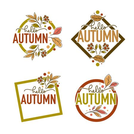 Hello Autumn, label, sticker, emblems with lettering composition in doodle line art style