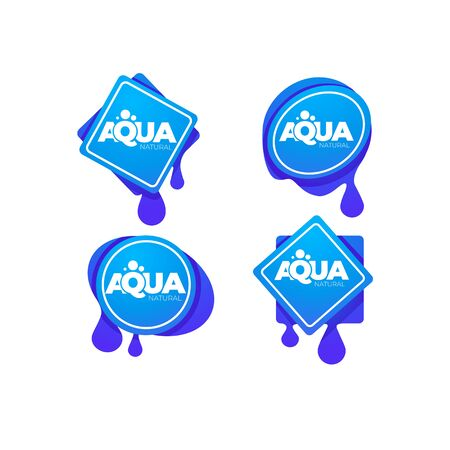 natural spring water, vector  logo, labels and stickers templates with aqua drops 向量圖像