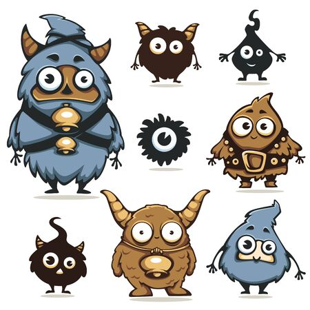 Cute and strange monsters and creatures from fantasy and fairy tales