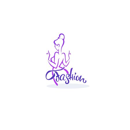vector  fashion boutique and store logo, label, emblem with  fashionable woman silhouette and lettering composition