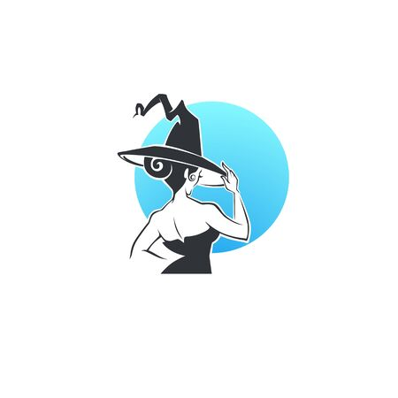 Full moon, vector portrait of young witch in black hat for your magic or Halloween logo, label, emblem