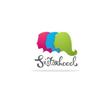 Sisterhood, girl power vector logo concept with lettering and woman portraits 向量圖像