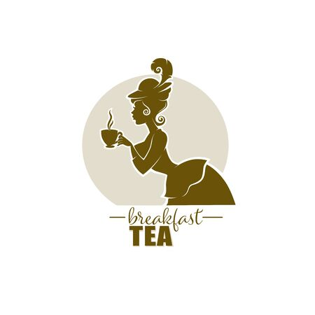 victorian lady portrait, holding with cup of tea, coffee or chocolate.  Logo for restaurant, cafe or tea company 向量圖像