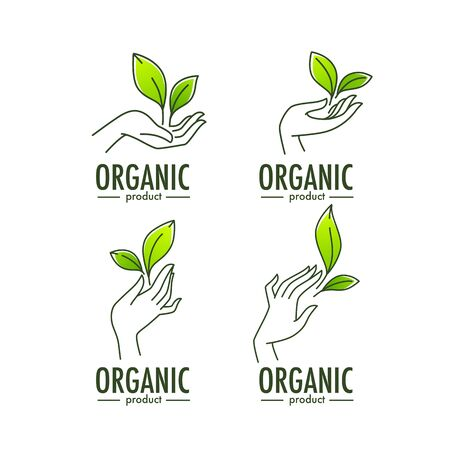Nature Product Logo Set, ecological symbol and sign, line art human hand and green growing plants