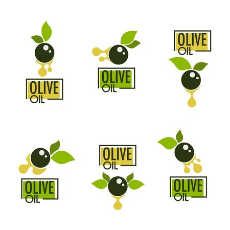 green olive leaves, lettering compositions and oil splashes , vector collection of logo templates, labels, symbols Zdjęcie Seryjne - 132658000