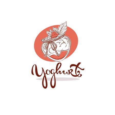 yoghurt logo. sketch illustration with lettering composition 向量圖像