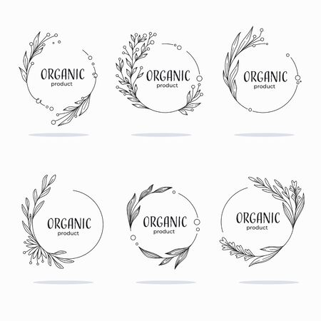 Nature, Organic, Bio, Nature doodle floral  leave emblems,  frames and logo
