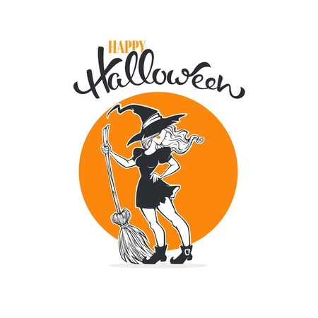 Happy Halloween. Halloween witch, greeting card template with young witch broom and lettering composition 向量圖像