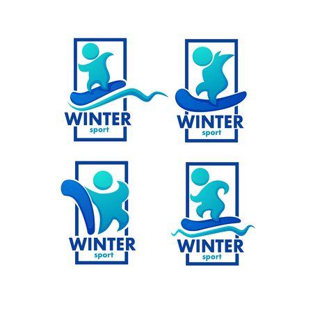 Winter sport, ski, snowboard logo, label, emblems 向量圖像