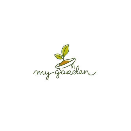 Modèle de logo vectoriel My Garden avec image d'art en ligne de composition de lettrage de calligraphie de plantes, de pots et de griffonnages Logo