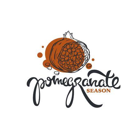 handdrawn pomegranate fruit, line art and lettering composition 向量圖像