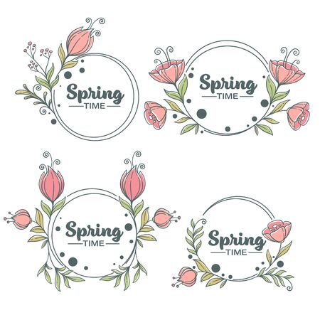 Spring Time, doodle floral frames with fresh flowers