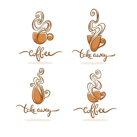 Coffee shop and take away coffee . Vector collection of hot and sweet drinks symbols and emblems
