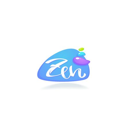 Zen and Meditation logo with lettering composition and spa stones