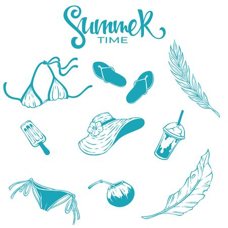 vector collection of summer tropical line art objects, leaves, flowers, clothes, drinks for your design