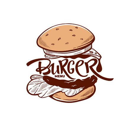 Burger Menu, hand drawn sketch with lettering composition for yout logo, emblem, label Ilustracja