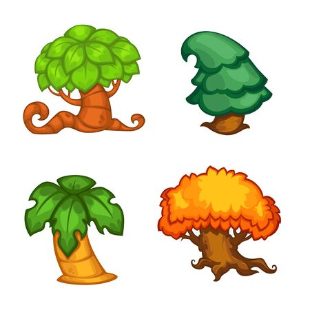 vector set of cartoon tree for your mobile game project Illustration