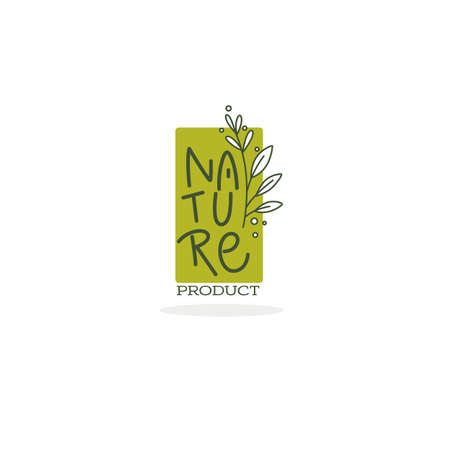 Nature, emblems,  frames and logo with doodle lettering and plant image