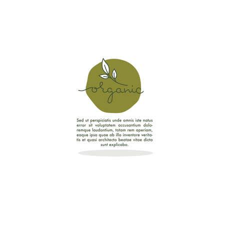 Organic  doodle lettering emblem,  frame and logo with plant image