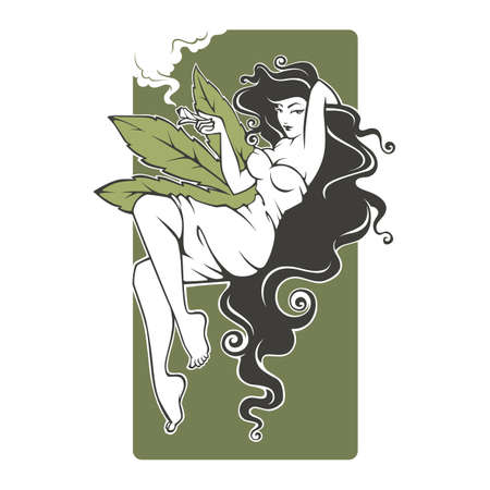 girl smoking cannabis illustration