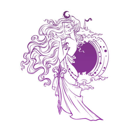 mistyc elf princess, queen of night, vector illustration