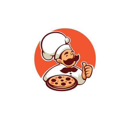 pizza maker chef vector icon, label