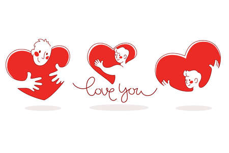 man and heart, vector collection of love concept stickers, labels and forms