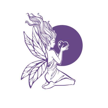 mistyc elf princess, fairy of fantasy world holding a heart, vector illustration