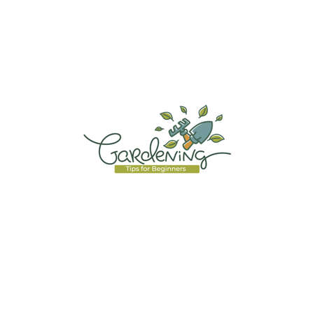 My Gardening vector logo template with line art doodle calligraphy lettering composition