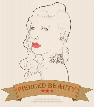 disheveled: illustration of young woman with tattoo and piercing Illustration