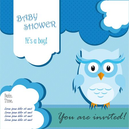 baby shower of owl card design for boy in blue Vector
