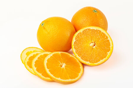 no way out: fresh ripe orange fruit on white background lighting