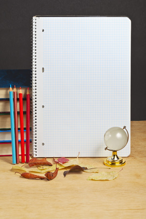 Notebook with colored pencils and globe on a wooden surface.