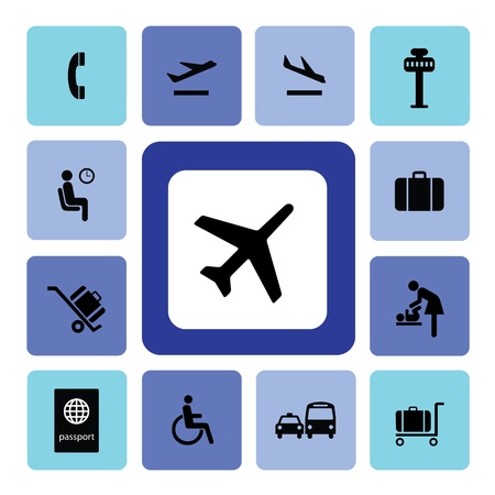 airport security: Airport icons set for use